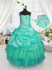 Strapless Sleeveless Girls Pageant Dresses Floor Length Beading and Ruffled Layers and Pick Ups Turquoise Organza