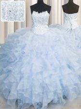 Low Price Scalloped Light Blue Sleeveless Floor Length Ruffles Lace Up Quinceanera Dress
