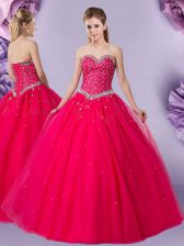 Affordable Coral Red Sleeveless Floor Length Beading Lace Up Vestidos de Quinceanera