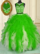 Stunning Scoop Two Pieces Beading and Ruffles Quinceanera Gowns Zipper Tulle Sleeveless Floor Length