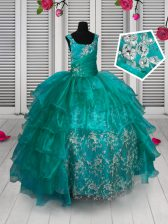 Ruffled Turquoise Sleeveless Organza Lace Up Kids Pageant Dress for Party and Wedding Party