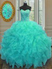 Aqua Blue Lace Up Quinceanera Dresses Beading and Ruffles Sleeveless Floor Length
