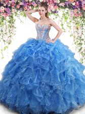 Aqua Blue Mermaid Beading and Ruffles Quince Ball Gowns Lace Up Organza Sleeveless Floor Length