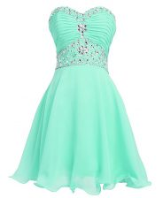 Apple Green Dress for Prom Prom and Party with Beading and Belt Sweetheart Sleeveless Lace Up