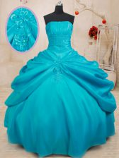 Most Popular Teal Ball Gowns Taffeta Strapless Sleeveless Appliques Floor Length Lace Up Sweet 16 Dress