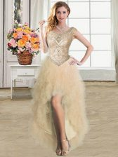 Scoop High Low Champagne Homecoming Dress Tulle Sleeveless Ruffles