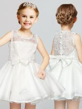 Enchanting Scoop White A-line Lace and Bowknot Flower Girl Dress Clasp Handle Organza Sleeveless Mini Length
