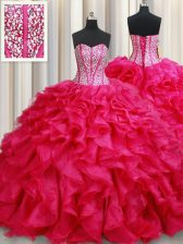 With Train Coral Red Sweet 16 Dress Sweetheart Sleeveless Brush Train Lace Up