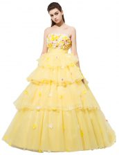 Designer Sleeveless Organza With Train Lace Up Homecoming Dress in Yellow with Ruffled Layers and Hand Made Flower