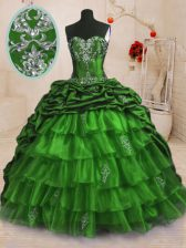 Custom Design Organza and Taffeta Sleeveless With Train 15 Quinceanera Dress Sweep Train and Beading and Appliques and Ruffled Layers and Pick Ups