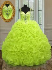 Custom Design Straps Sleeveless Organza Vestidos de Quinceanera Beading and Ruffles Zipper