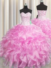 Fine Visible Boning Zipper Up Rose Pink Zipper Quinceanera Dresses Beading and Ruffles Sleeveless Floor Length