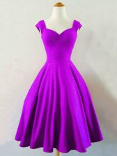 Great Sleeveless Knee Length Ruching Lace Up Quinceanera Court Dresses with Eggplant Purple