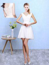 White V-neck Lace Up Lace Court Dresses for Sweet 16 Sleeveless