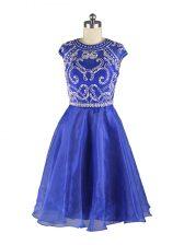 Blue Organza Zipper Scoop Cap Sleeves Mini Length Dress for Prom Beading