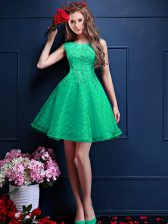 Stunning Knee Length A-line Sleeveless Apple Green Dama Dress for Quinceanera Lace Up