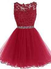 Sweetheart Sleeveless Prom Dresses Mini Length Beading and Lace and Appliques Burgundy Tulle