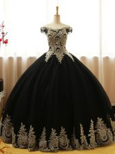 Floor Length Black Quinceanera Dresses Tulle Sleeveless Appliques