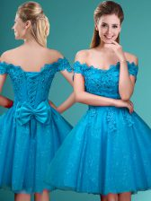Knee Length Aqua Blue Dama Dress for Quinceanera Off The Shoulder Cap Sleeves Lace Up