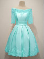 Fine Half Sleeves Lace Lace Up Damas Dress