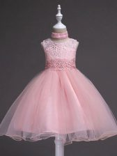 New Style Baby Pink Tulle Zipper Little Girl Pageant Dress Sleeveless Knee Length Beading and Appliques