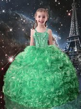 Elegant Sleeveless Lace Up Floor Length Beading and Ruffles Little Girl Pageant Gowns