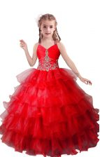 Red Sleeveless Floor Length Beading and Ruffled Layers Zipper Pageant Gowns For Girls