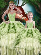 Organza Sweetheart Sleeveless Lace Up Beading and Ruffles and Ruffled Layers Sweet 16 Quinceanera Dress in Yellow Green