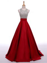 Wonderful Wine Red A-line Elastic Woven Satin Scoop Sleeveless Beading Backless Prom Dress
