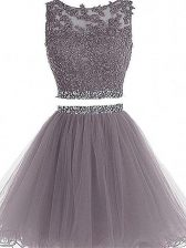 Mini Length Two Pieces Sleeveless Grey Dress for Prom Zipper