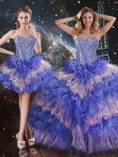High Quality Sleeveless Organza Floor Length Lace Up Quinceanera Gown in Multi-color with Beading and Ruffled Layers