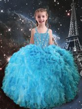 Straps Sleeveless Lace Up Pageant Gowns For Girls Aqua Blue Organza