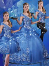 Blue Off The Shoulder Lace Up Beading and Embroidery Sweet 16 Dress Cap Sleeves