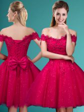 Red A-line Off The Shoulder Cap Sleeves Tulle Knee Length Lace Up Lace and Belt Quinceanera Dama Dress