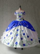 Charming Off The Shoulder Cap Sleeves Lace Up Vestidos de Quinceanera Blue And White Organza and Taffeta