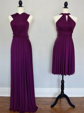 Pretty Purple Lace Up Halter Top Ruching Dama Dress Chiffon Sleeveless