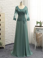 Green Scalloped Zipper Beading and Lace and Appliques Prom Evening Gown Long Sleeves