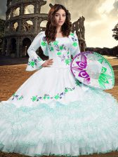 White Lace Up Quince Ball Gowns Embroidery and Ruffled Layers Long Sleeves Floor Length