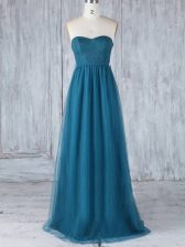 Best Selling Tulle Sweetheart Sleeveless Side Zipper Appliques Quinceanera Court of Honor Dress in Teal