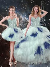 Noble Floor Length Blue And White Quinceanera Gown Tulle Sleeveless Beading and Ruffled Layers and Sequins