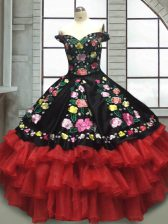 Affordable Red And Black Off The Shoulder Neckline Embroidery and Ruffled Layers Quinceanera Gown Sleeveless Lace Up
