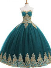 Sleeveless Floor Length Appliques Lace Up 15th Birthday Dress with Teal
