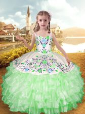 Apple Green Straps Neckline Embroidery and Ruffled Layers Girls Pageant Dresses Sleeveless Lace Up