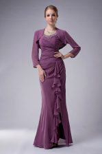 Top Selling Purple Chiffon Zipper Straps Sleeveless Floor Length Prom Gown Beading
