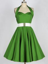 Sleeveless Taffeta Knee Length Lace Up Quinceanera Court Dresses in Green with Belt