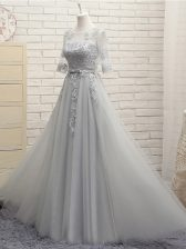 Inexpensive Appliques Quinceanera Court of Honor Dress Grey Lace Up Half Sleeves Floor Length