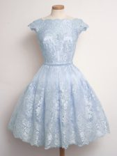 Cap Sleeves Lace Knee Length Lace Up Quinceanera Dama Dress in Light Blue with Lace