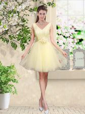 Designer Tulle V-neck Sleeveless Lace Up Lace and Belt Quinceanera Court of Honor Dress in Light Yellow