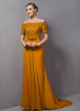 Fantastic Gold Short Sleeves Chiffon Sweep Train Zipper Prom Dress for Prom and Party