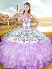 Sleeveless Organza and Taffeta Floor Length Lace Up Vestidos de Quinceanera in Lilac with Embroidery and Ruffled Layers